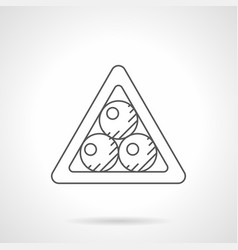 balls in a triangle flat line icon vector image