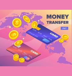 Bank card to bank card money transfer concept vector