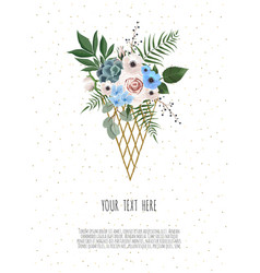 beautiful flowers in a stylized ice cream vector image