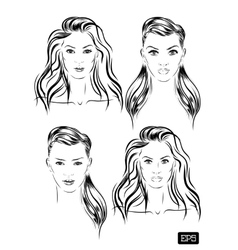 beautiful woman face set hand drawn vector image
