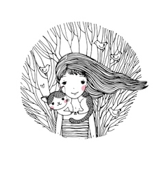 Beautiful young girl and a cute cat on a white vector image