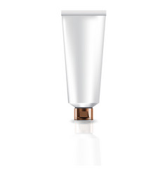 Blank white cosmetic tube with copper cap lid for vector