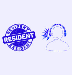 Blue scratched resident stamp seal and operator vector