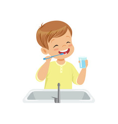 Boy brushing his teeth and rinsing with water kid vector