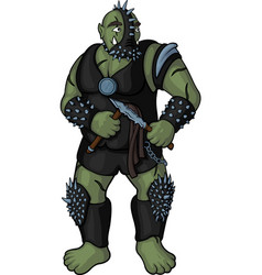 Brutal cartoon strong orc vector
