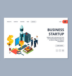 Business startup landing page isometric vector