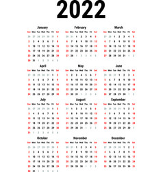 calendar for 2022 vector image