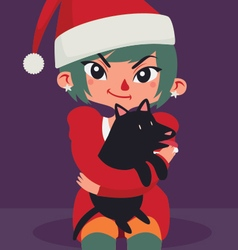 Christmas Girl Sitting with a Dog on her Lap vector