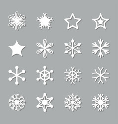 christmas paper cut snowflake set icons vector image
