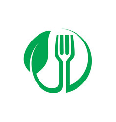 circle fork eco sign logo restaurant vector image vector image