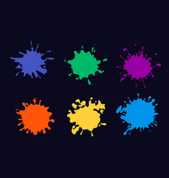 colored ink splash paint splashing and drop vector image