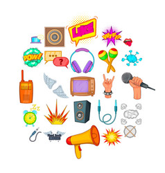 composition icons set cartoon style vector image
