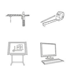 construction crane measuring tape measure vector image