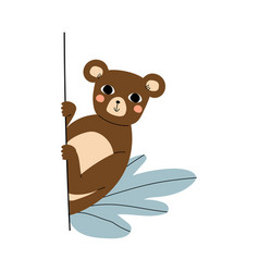 Cute brown bear with pink cheeks cartoon vector