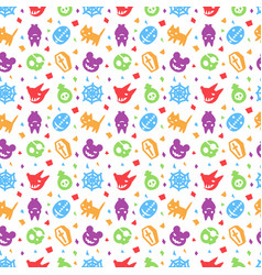 cute halloween pattern background with purple vector image