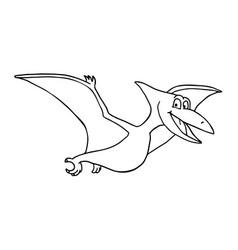 cute little cartoon baby dinosaur - pterodon vector image