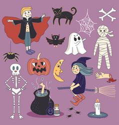 cute spooky halloween ghost set vector image