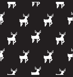deer black and white kid silhouette pattern vector image