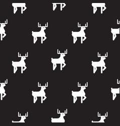 Deer black and white kid silhouette pattern vector