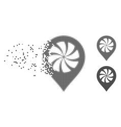 dissipated pixel halftone cooler fan marker icon vector image