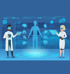 doctors working in augmented reality flat vector image