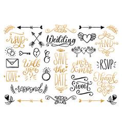 drawn wedding set of laurels rings flowers vector image