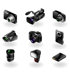 Electronics icon set - Cameras and camcorders vector