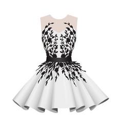 Elegant white with black women cocktail dresses vector