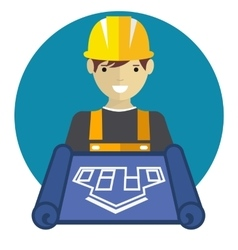 Engineer worker with blueprint vector