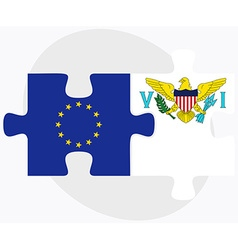 European union and virgin islands us flags vector