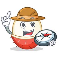 Explorer rambutan mascot cartoon style vector