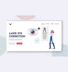eye surgery landing page template laser vector image