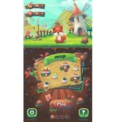 feed fox gui match 3 map window vector image
