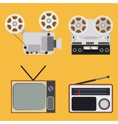 Flat design retro objects with a film projector vector image
