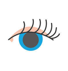 Full color vision eye with eyelashes style design vector