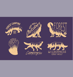 gray wolf logo and badge forest and mountain vector image