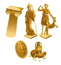 Greek Golden statues column shield and jugs vector