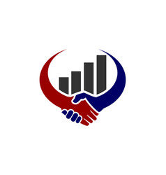 handshake growth graphic log vector image