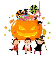 happy children in halloween costumes vector image