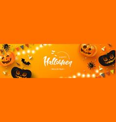 happy halloween background with glowing pumpkins vector image