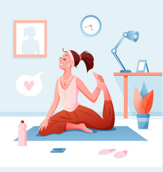 home yoga flat cartoon happy vector image
