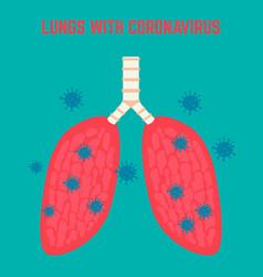 Illness human lung with coronavirus wuhan vector