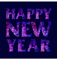 Inscription Happy New Year on dark blue background vector image