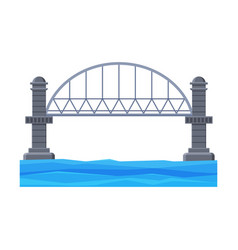 iron bridge with concrete pillars architectural vector image
