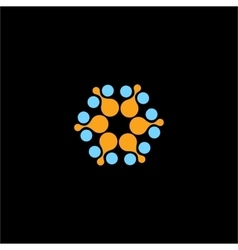 Isolated abstract blue orange flower logo vector
