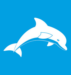 jumping dolphin icon white vector image