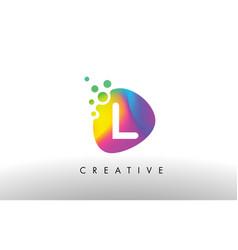 L colorful logo design shape purple abstract vector