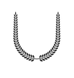 Laurel wreath floral emblem heraldic coat arms vector