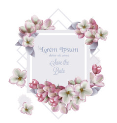 lilac flowers card invitation watercolor vector image