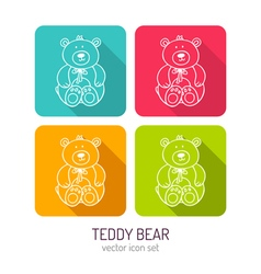 Line art toy teddy bear icon set in four color vector